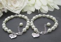 wedding photo - Mother of the Bride Bracelet, Mother of the Groom, Set Of Two, Ivory Bridal Sets, Brides Mother Charm Bracelet, Grooms Mother Gift,