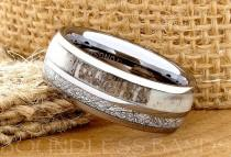 wedding photo - Tungsten Ring Tungsten Wedding Ring Meteorite Deer Antler Ring Men Women 8mm Custom Made Handmade Personalized Promise Ring Anniversary Ring