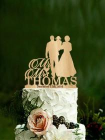wedding photo - Silhouette wedding cake topper bride and groom with child couple cake topper mr and mrs wedding cake toppers personalized last name topper