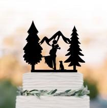 wedding photo - Outdoors wedding cake topper mountain with dog, cake topper tree, cake topper with dog, silhouette cake topper anniversary gift,
