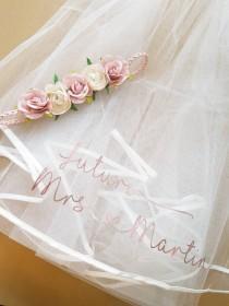 wedding photo - Hen party veil, bachorlorette party, personalised veil, custom veil, personalised,bride to be, bachorlorette veil, bridal shower, hen do