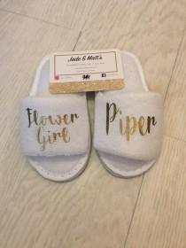wedding photo - Children's Personalised Slippers, Flower girl, bridesmaid, Wedding, Bride, White, spa slippers,  bridesmaid, personalized, towel, baby, kids