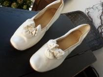 wedding photo - Edwardian wedding shoes leather white white