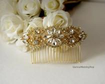 wedding photo - Sale - Hair Comb Rhinestone Gold Wedding Hair Comb Hair Comb Bridesmaid's Hair Comb Flower Girl Hair Headband Comb