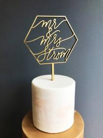wedding photo - Custom Mr & Mrs Geometric Laser Cut Gold Modern Wedding Cake Topper - hand drawn and made of wood