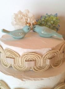 wedding photo - Wedding Cake Topper Robins Egg Blue Birds With Crowns Vintage Ceramic Home Decor Bird Home Decor