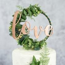 wedding photo - Custom Wedding Cake Topper - Hoop Wreath - rustic wedding hoop - boho cake topper - floral hoop wreath