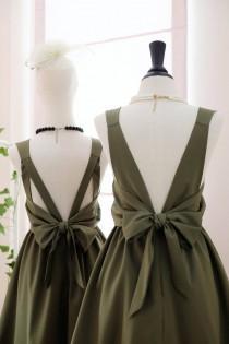 wedding photo - Olive Green dress Dark green Bridesmaid dress Wedding Prom dress Cocktail Party dress Evening dress Backless bow dress