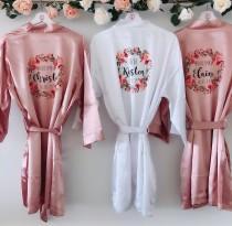 wedding photo - FLORENCE Silk bridal robes, bridal robe, satin bridesmaid robe, maid of honour robe, wedding robe, personalised robe, satin floral robe