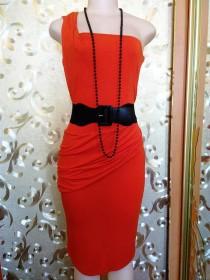wedding photo - Orange Women's chic dress Size S Mini length One shoulder strap Drapery Open back Vintage Dressing gown Viscose Evening dress Slim jersey