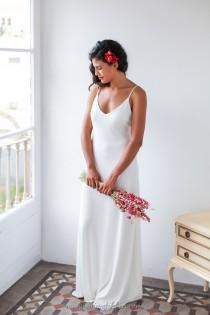 wedding photo - Minimalist wedding dress, Wedding dress with straps, Simple wedding dress, Spaghetti strap wedding dress, Ivory long dress, Long white dress