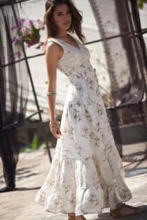 wedding photo - Cream Maxi Dress, Hippie Urban Evening & Day Summer Dress, Boho Unique Long Carrie Dress, Romantic Flower Cotton Maxi Dress, size S - XL
