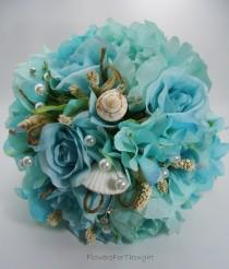 wedding photo - Beach Wedding Seashell Bouquet with Aqua Hydrangea, Peonies, and Roses