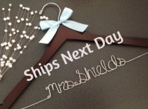 wedding photo - Ships next day, Priority shipping, wedding hangers, gown, bride hangers, bridal gift, custom hanger, hanger, bridesmaids gift, weddings