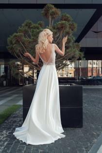 wedding photo - Ivory lace dress boho wedding dress lace dress bohemian wedding dress 2018 v back cut wedding long train wedding gown lace dress bridal gown