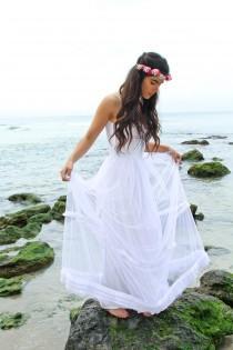 wedding photo - Wedding Dress, Boho Wedding Dress, Beach Wedding Dress, White Wedding Dress, White Bridal Gown, Tulle Wedding Dress, Long Wedding Dress