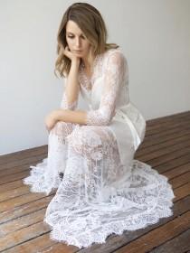 wedding photo - Long White Lace Wedding Dress Bridal Robe