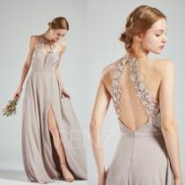 wedding photo - Bridesmaid Dress Taupe Chiffon Dress Wedding Dress Side Split,Lace Halter Maxi Dress,Open Back Party Dress,Sleeveless Evening Dress(H566)