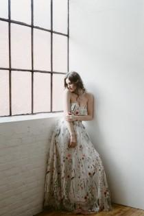 wedding photo - Embroidered Gown, floral wedding dress, embroidered prom dress, spring wedding dress