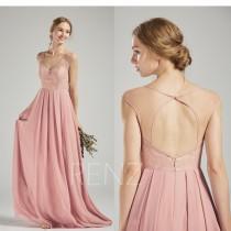 wedding photo - Bridesmaid Dress Dusty Rose Chiffon Dress Wedding Dress,Cap Sleeve Maxi Dress,Lace Illusion Open Back Party Dress,V Neck Evening Dress(H576)