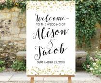 wedding photo - Wedding Welcome Sign Black Gold Dots, Printable Large Wedding Sign, Gold Dots Wedding, Black and Gold Wedding Decor, Engagement, Giselle