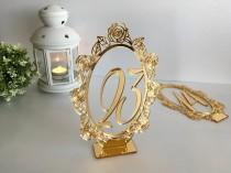 wedding photo - Gold Wedding Table Numbers Oval Wedding Table Signs Centerpieces Shabby Chic Table Markers Stand Table Cards Acrylic Laser Cut Rose Flowers