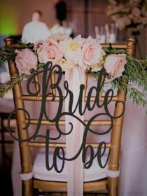wedding photo - Bride to Be Chair Sign, Bridal Shower Sign, Bridal Shower Gift, Bridal Shower Chair Sign, Gold Chair Sign, Wooden Sign, Rose Gold Chair Sign