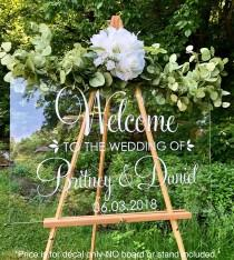 wedding photo - Welcome Wedding Decal Personalized Couples Names and Dates Vinyl Decal for Wedding Sign DIY Lettering Elegant Wedding Decor