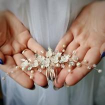 wedding photo - Swarovski Rose Gold Bridal Hair Comb Flower bridal hair vine Rose gold pearl headpiece Rose gold hair vine