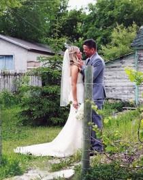 wedding photo - FAST SHIP Fingertip Wedding Veil, Raw Edge Bridal Veil, Cut Edge Simple Veil, Short Veil, Hip Veil, Ivory Veil, White Ivory Blush