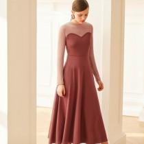 wedding photo - Elegant Vintage Split Front Solid Color Trail Dress High Waisted Heart-shape Dress - Bonny YZOZO Boutique Store
