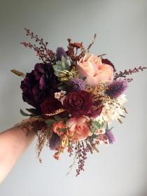 wedding photo - Fall Wedding Bouquet, Silk Wedding Bouquet, Rustic Bridal Bouquet, Burgundy Bouquet, Autumn Flower Bouquet, Artificial Flowers, Hydrangea