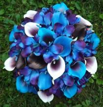 wedding photo - Magnificent bridal bouquet with real touch Picasso callas, blue Picasso callas, plum callas, royal blue callas and blue galaxy orchids