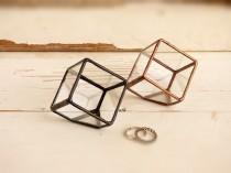 wedding photo - Wedding Ring Box. One Mini Cube Glass Terrarium, Use as a Mini Planter, Jewelry Box, Ring Bearer Box Or a Wedding Ring Holder