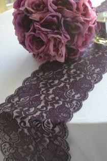 """wedding photo - Plum Lace table runner 8"""" wide choose your length 3FT -16 FT /Cut lace not hemmed/Free sample swatch/ Wedding reception/ bridal shower"""