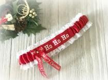 wedding photo - Fun Christmas garter - Sexy Gift For Him - Fun Christmas Wedding Garter - Fun Christmas Gift For Her - Red White Garter - Gift Under 30.