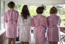 wedding photo - Bridal party satin gowns, personalised dressing gown, plus size satin robes, bridesmaid wedding robes, custom bride satin robe