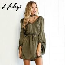 wedding photo - Vogue Sexy Curvy V-neck 3/4 Sleeves One Color Fall Tie Dress - Bonny YZOZO Boutique Store