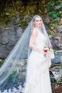 wedding photo - Mantilla Cathedral Lace Wedding Veil, Cathedral Lace Veil, Lace Veil , Cathedral Wedding Veil, Drop Veil, Floral Lace Trimmed Veil