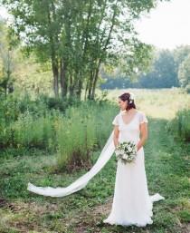 wedding photo - Soft English Tulle Bridal Veil, Ivory English Net Veil, english net veil,soft wedding tulle veil chapel veil Soft Bridal simple wedding veil