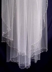 wedding photo - Elbow length CRYSTALS and PEARLS EDGE  wedding Bridal  veil with comb Diamond white, Ivory or White