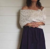 wedding photo - Ivory faux fur wrap, fur shawl,  bridesmaids gift, tan, stole