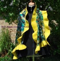 wedding photo - 66/5000 Nuno felt hat with silk devoured yellow and green on black background