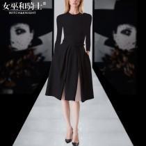 wedding photo - Split Slimming A-line Scoop Neck 9/10 Sleeves Black Mini Dress Belt Dress - Bonny YZOZO Boutique Store