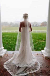 wedding photo - Lace Bridal Veil , Lace Wedding Veil,  white ivory soft veil bridal Veil Fingertip Elbow Cathedral Chapel Waltz length bridal veil
