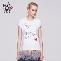 wedding photo - Hey You simple leisure Matter heart-shaped letters printed slim short sleeve t-shirt woman - Bonny YZOZO Boutique Store