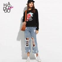 wedding photo - Casual Vogue Printed Scoop Neck Cartoon Edgy Hoodie - Bonny YZOZO Boutique Store