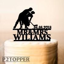wedding photo - Wedding Hockey Cake Topper,Hockey Wedding Cake Topper with date,Hockey Theme Wedding,Hockey Fan Wedding,Hockey party Cake Topper (0270)