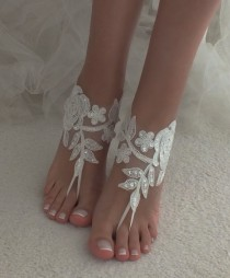 wedding photo - ivory lace Beach wedding barefoot sandals wedding shoes prom party lace barefoot sandals bangle beach anklets bride bridesmaid gift
