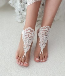 wedding photo - Beach wedding barefoot sandals accesories lace sandals, ivory Barefoot , french lace sandals, wedding anklet, beach shoes, bridal sandals